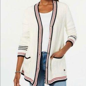 Tommy Hilfiger Varsity Ivory Multi-Stripe Cardigan